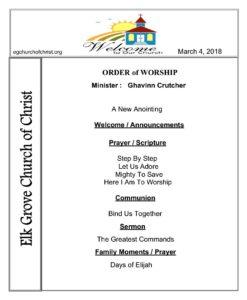 March 4, 2018 | Elk Grove Church of Christ